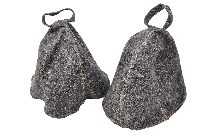 Set of 2 grey hats for sauna / Russian banya - One size - Felt autre