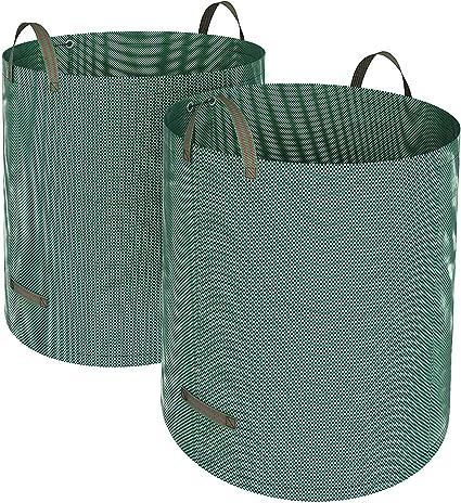 SONGMICS Set de 2 Bolsas de residuos de jardín, Sacos para desechos, Bolsas de Basura de jardín, Capacidad de 500 L, Plegable, Verde, GTS500GN: Amazon.es: Hogar