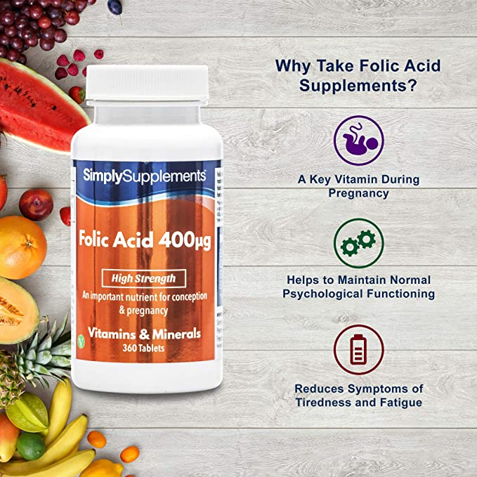 6b8b6a562bf8 Acide folique (Vitamine B9) 400mcg 360 Comprimés, Approvisionnement de 12  Mois, Vitamine Essentielle pendant la Grossesse, Fabriqué au Royaume-Uni   ...