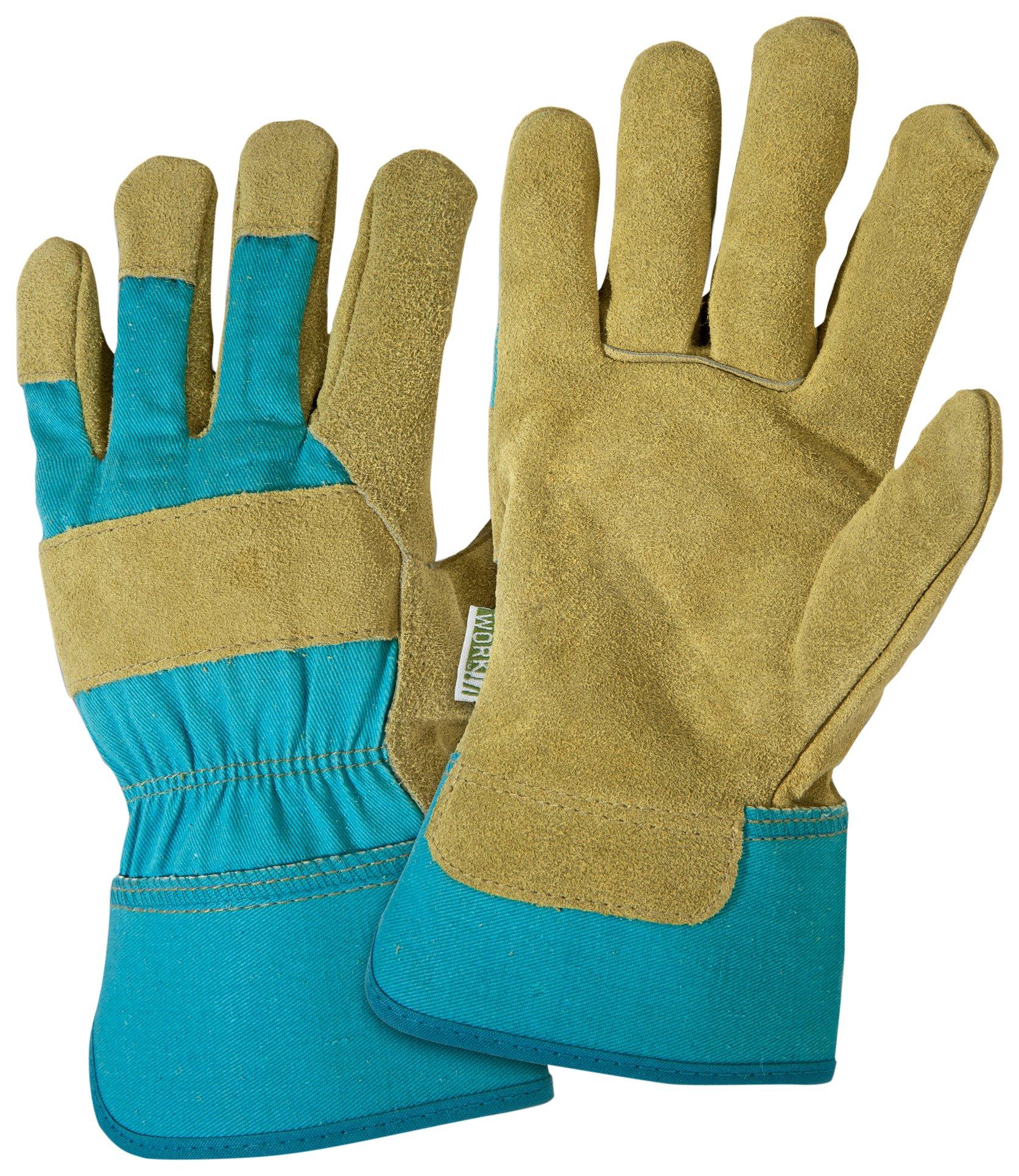 DIRTY WORK DW23000 Split Cowhide Leather Landscaping Work Gloves: Women's Medium/Large, 1 Pair