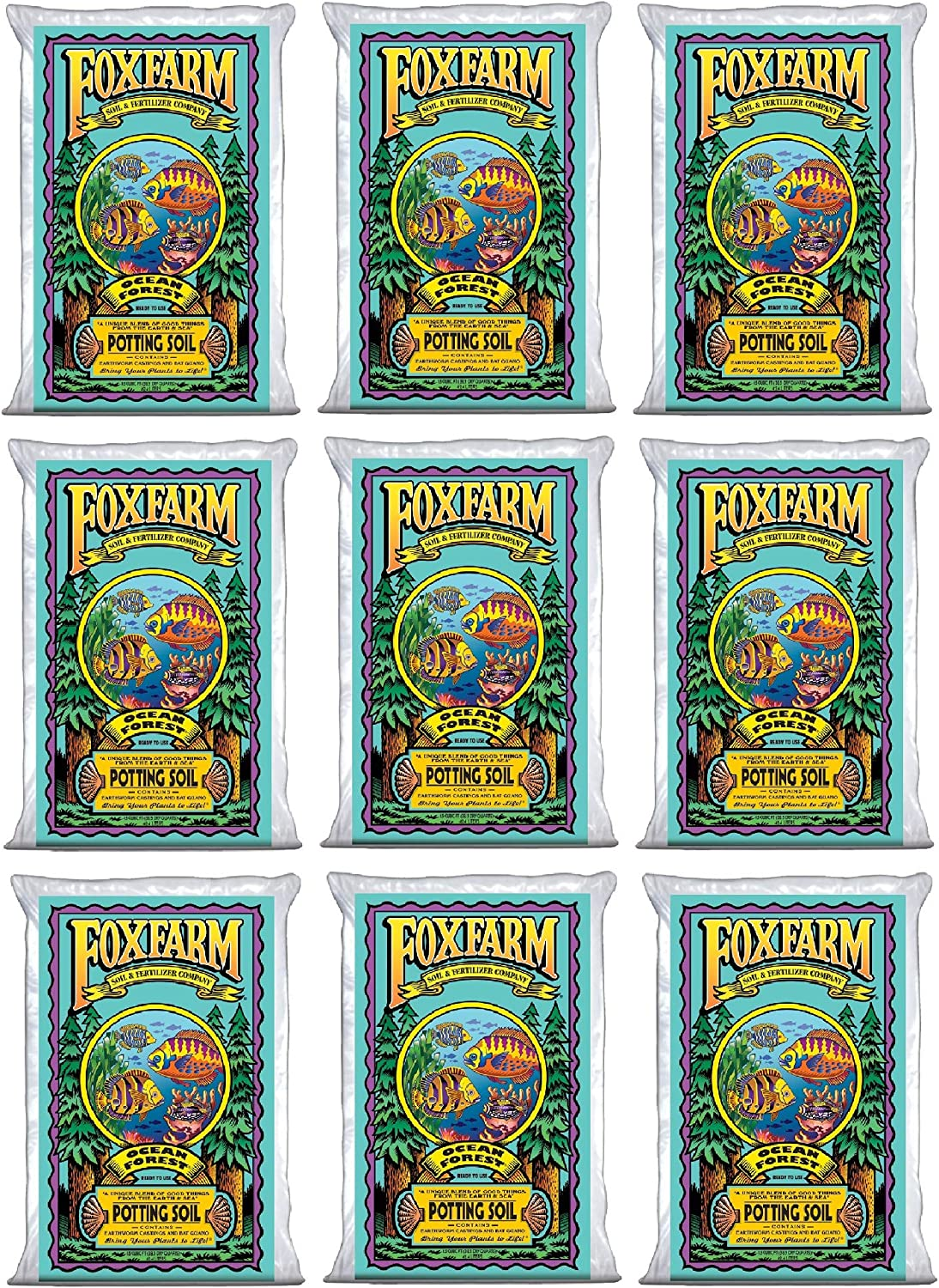 FoxFarm FX14000 Ocean Forest Plant Potting Soil 6.3-6.8 pH, 40 Pounds (9 Pack)