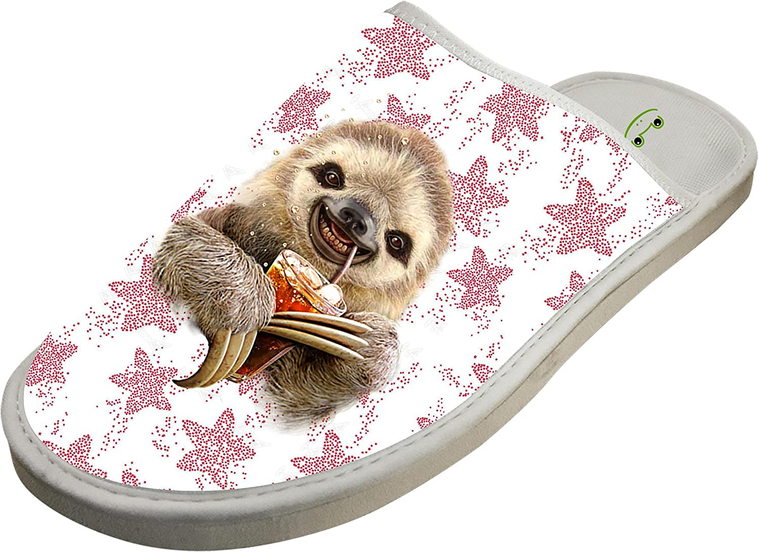 KOUY Drinking Sloth Closed Toe Cotton Slippers Warm Soft Indoor Shoes Non-watertight