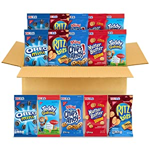 OREO Mini Cookies, CHIPS AHOY! Mini Cookies, Nutter Butter Bites, RITZ Bits Cheese Crackers & Teddy Grahams Cinnamon Variety Pack, 15 Big Bags (3 oz.)