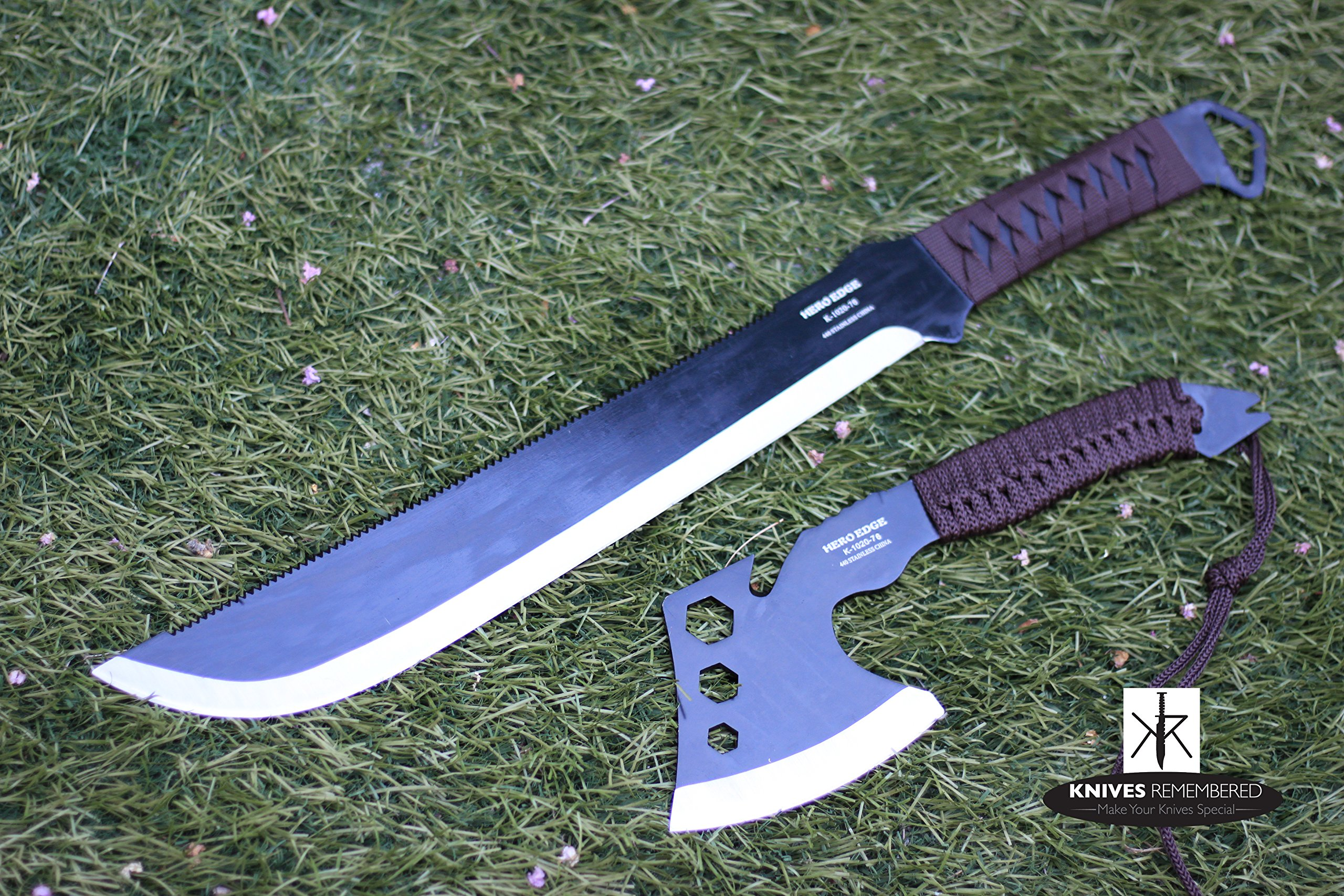 Outdoor Camping & Hunting Machete Knife and Thrower Axe w/ Back Carry Nylon Case by HERO EDGE