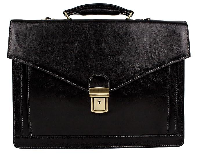 13af0b13fd Leather Briefcase Laptop Bag Medium Attache Unisex Black Classic Style -  Time Resistance