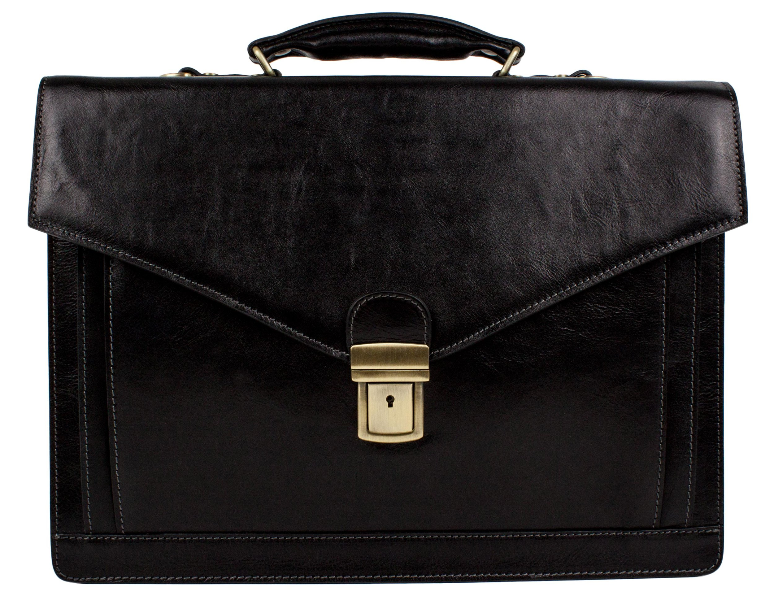 Leather Briefcase Laptop Bag Medium Attache Unisex Black Classic Style - Time Resistance