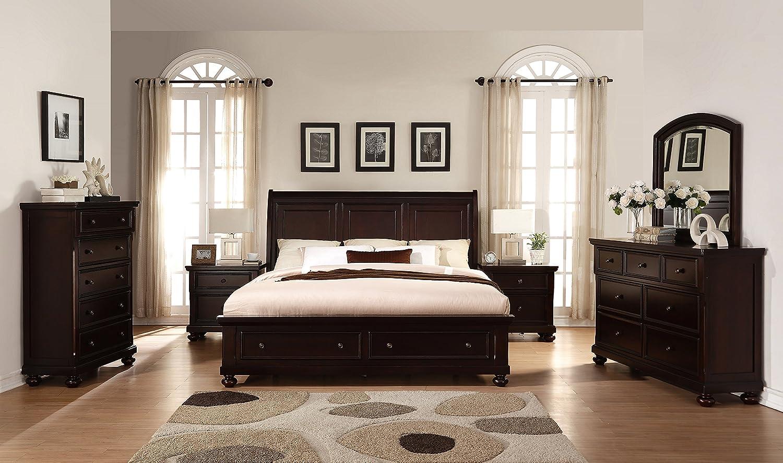 Com Roundhill Furniture B088qdmn2c Brishland Rustic Cherry Queen Bed Dresser Mirror 2 Nightstands Chest Storage Bedroom Set Kitchen Dining