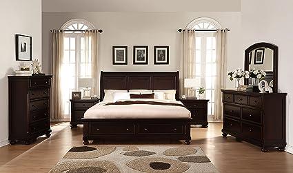 Amazon Com Roundhill Furniture B088kdmn2c Brishland Rustic Cherry