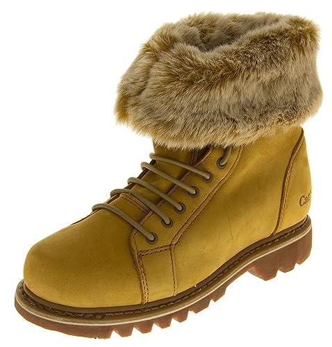 Ladies Caterpillar botas de seguridad en el trabajo gato piel forro de pelo resistente al aceite