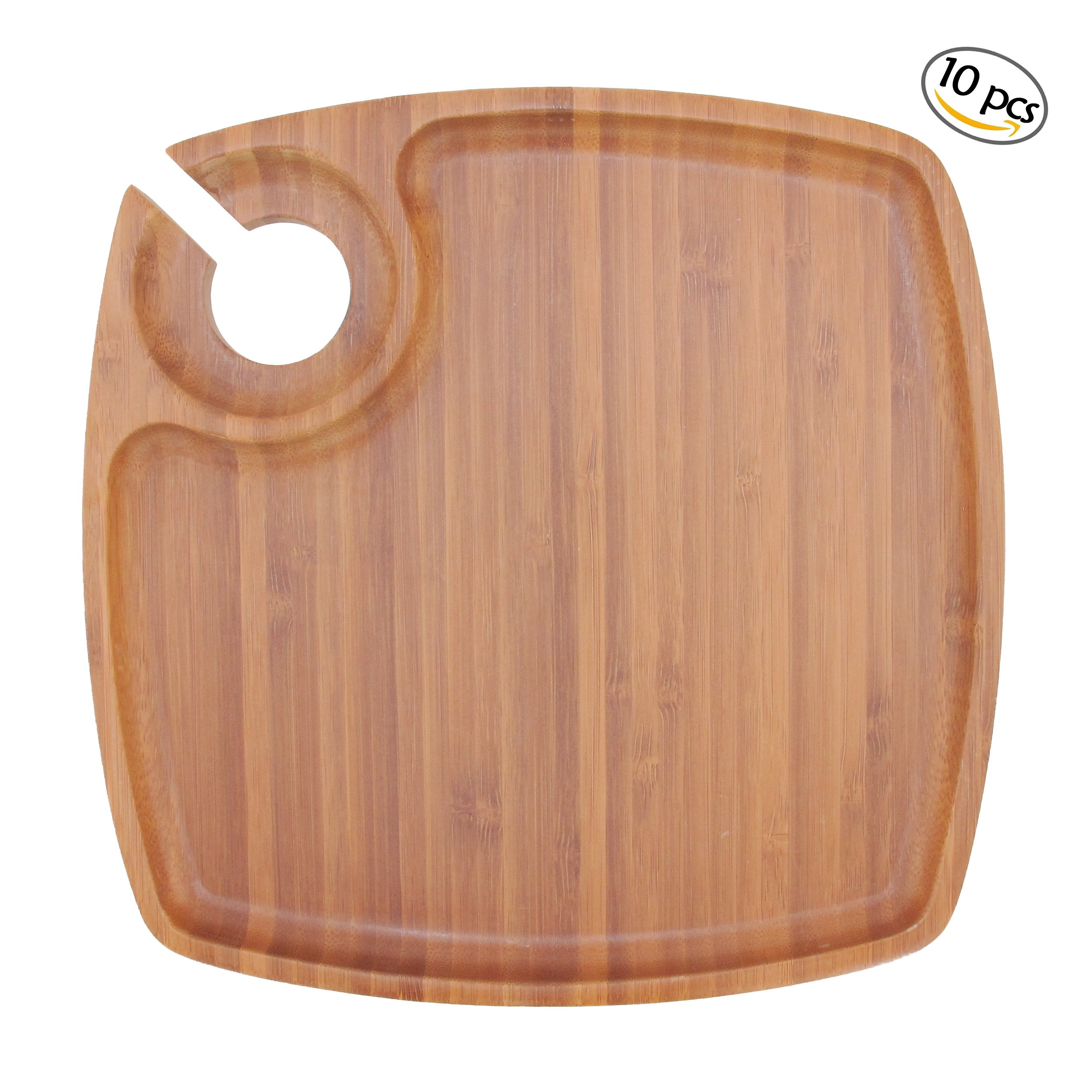 BambooMN 10'' x 10'' Bamboo Ecoware Reusable Dinnerware Cup/ Wine Holder Square Plates for Catered Events, Holidays, or Home Use Supplies, 10 Pcs