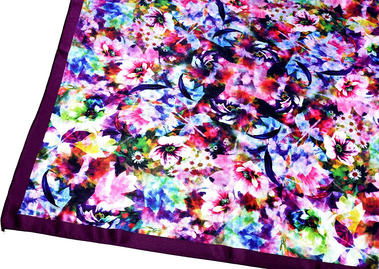 Bees Knees Fashion Foulard Quadrato In Seta Stampata Con Piccoli Fiori Selvatici Multicolori