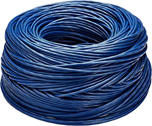 AmazonBasics Cat6 Ethernet Solid Bulk Cable (23 AWG, UTP) - 1000-Foot, Blue