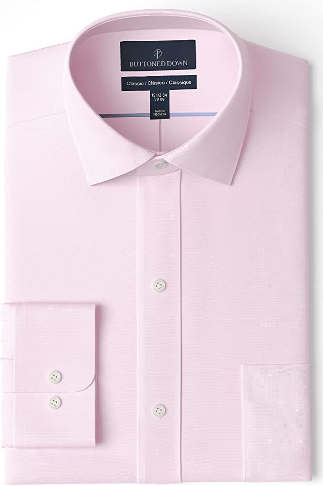 Buttoned Down Classic Fit Spread Collar Solid Non-Iron Dress Shirt Camisa, Rosa (Light Pink), 18
