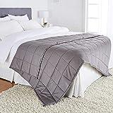 "AmazonBasics All-Season Cotton Weighted Blanket - 20-Pound, 60"" x 80"" (Full/Queen), Dark Grey"