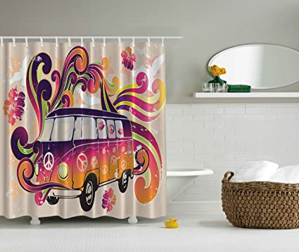 84 Inch Long Shower Curtains Boho Decor Peace Van Funny Minivan Caravan  Hippie Hippy Bohemian Cute