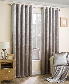 Natural Crushed Velvet Soft Touch Pair Of Eyelet Curtains With ...