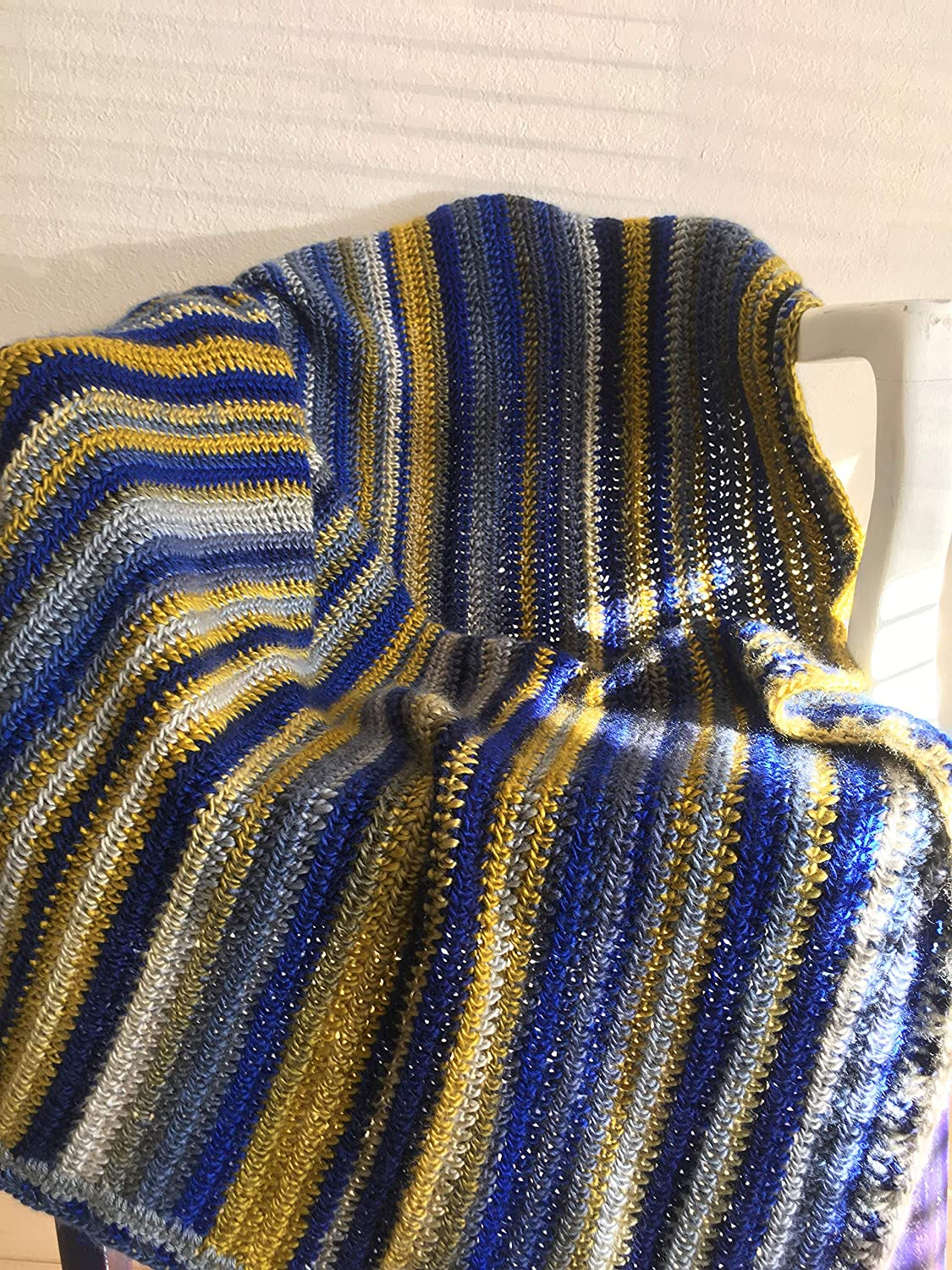 Amazon com: Crochet blanket handmade afghan throw in blue, gold and