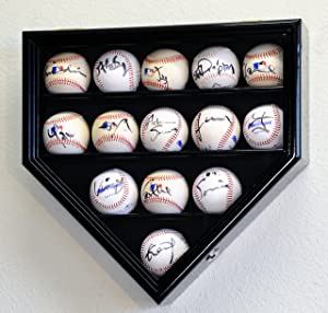 sfDisplay.com, Factory Direct Display Cases 14 Baseball Ball Display Case Cabinet Holder Wall Rack Home Plate Shaped 98% UV Protection- Lockable -Black