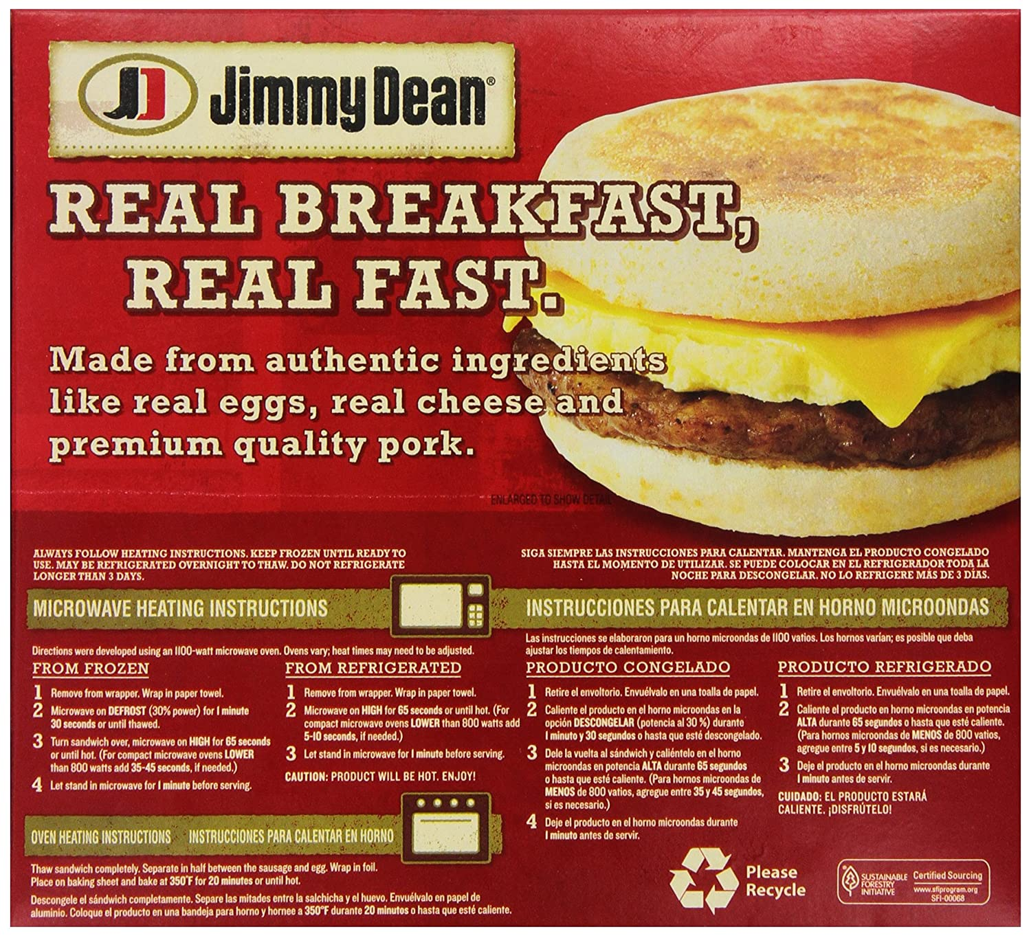 Jimmy Dean, Muffin Sandwiches, Sausage, Egg & Cheese, Meal Size, 4 Count (Frozen): Amazon.com: Grocery & Gourmet Food