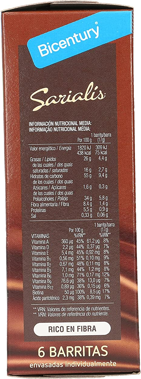 BICENTURY Sarialis barritas de cereales chocolate negro SIN GLUTEN caja 6 uds