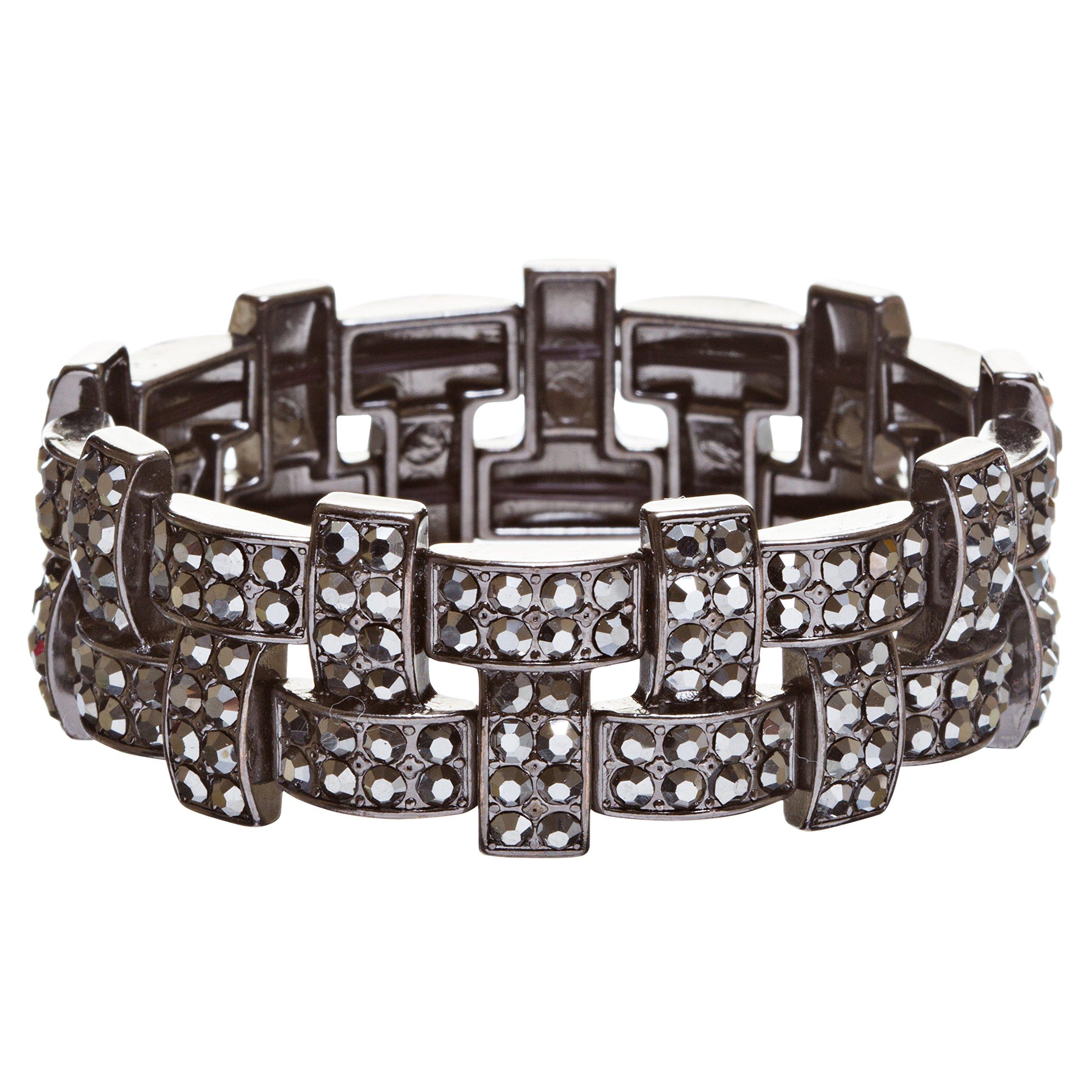 ACCESSORIESFOREVER Bridal Wedding Jewelry Crystal Rhinestone Stunning Woven Stretch Bracelet B278 Black