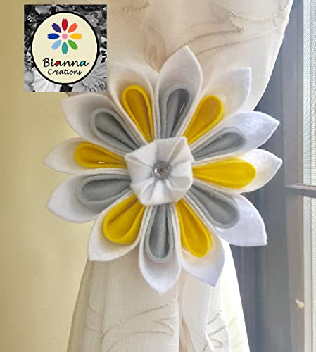 Amazon one handmade 6 kanzashi yellow gray and white felt one handmade 6quot kanzashi yellow gray and white felt flower curtain tieback unique junglespirit Image collections