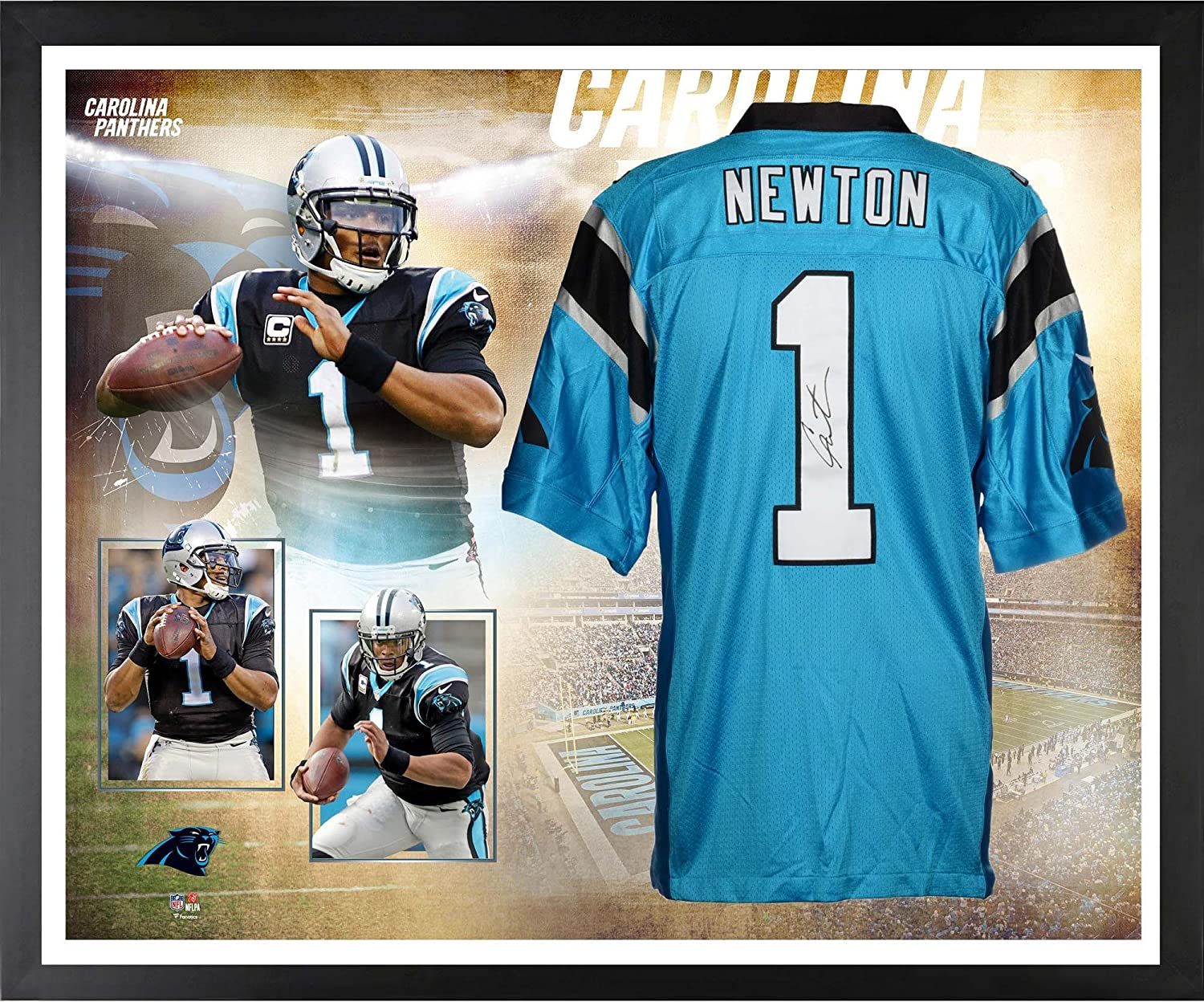 41b3e9a5e Cam Newton Carolina Panthers Framed Autographed Blue Nike Limited Jersey  Collage - Fanatics Authentic Certified at Amazon's Sports Collectibles Store