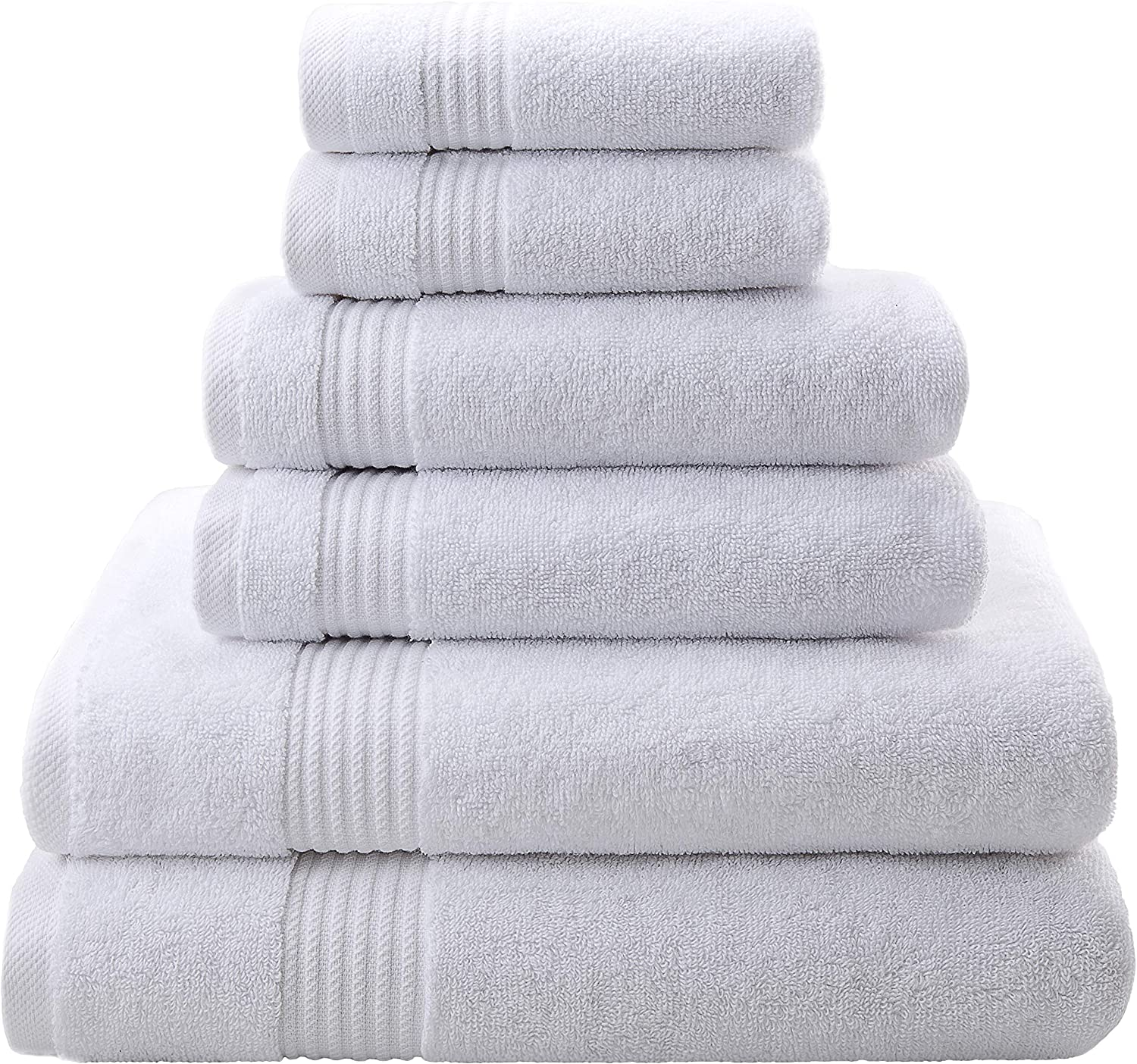 Premium, Luxury Hotel & Spa, Turkish Towel 100% Cotton 6-Piece Towel Set for Maximum Softness and Absorbency by American Veteran Towel (Snow White, 2019)