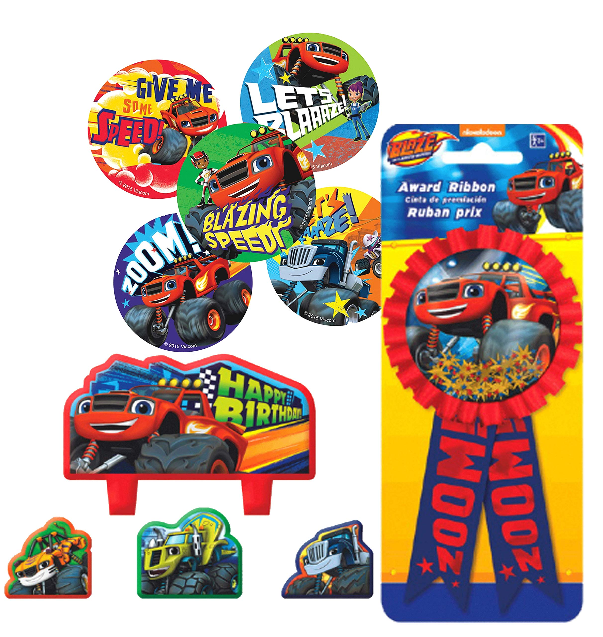 Blaze and the Monster Machines Birthday Cake Candle Set & Birthday Party Confetti Filled Ribbon for Guest of Honor! Plus Blaze Party Favor Stickers!