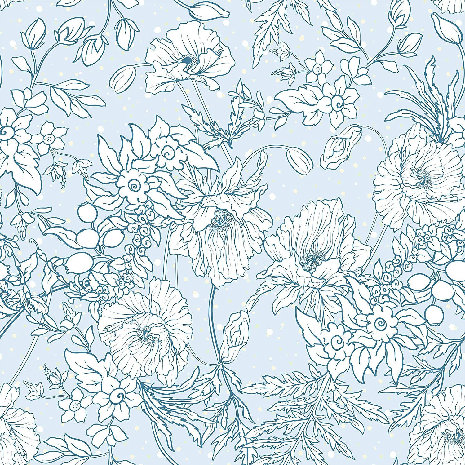 Wallsbyme Peel And Stick Blue And White Floral Floral Fabric