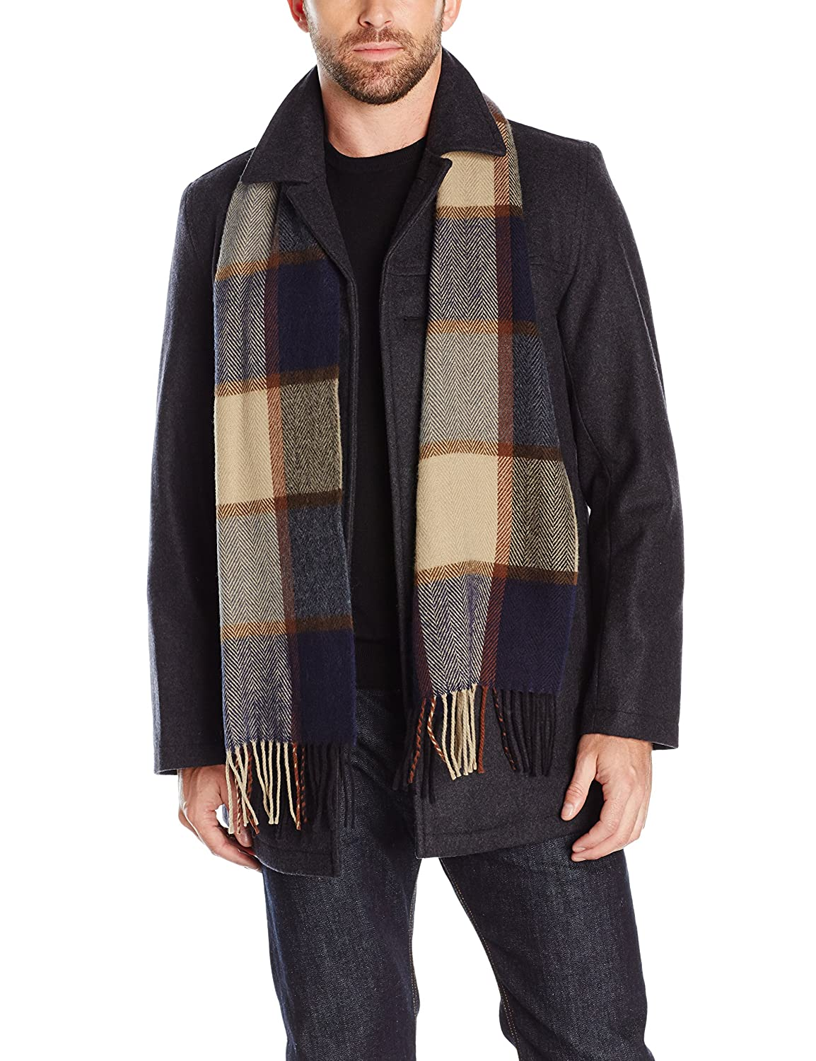 Tommy Hilfiger Mens Wool Melton Walking Coat with Attached Scarf