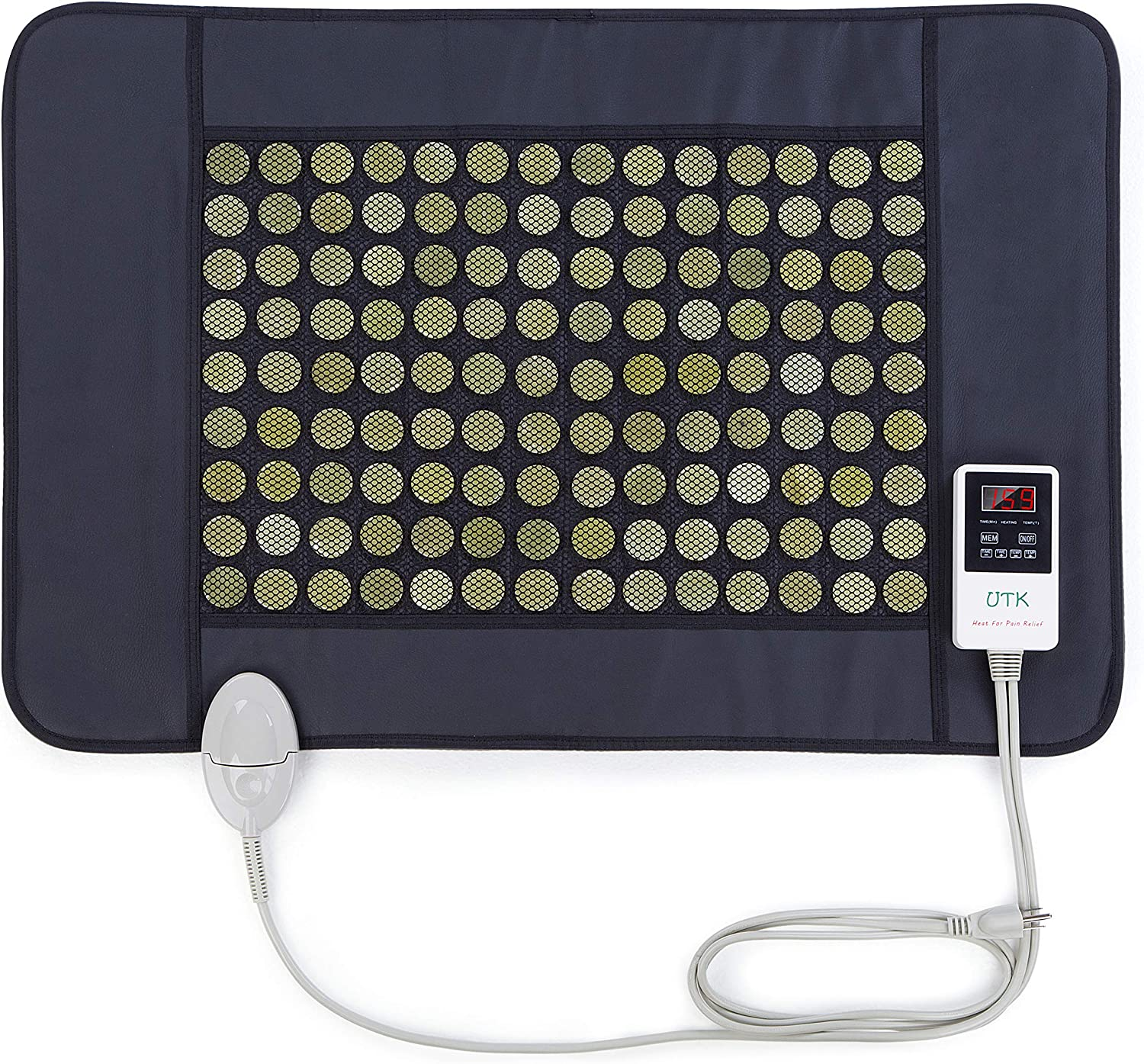 "UTK Jade Far Infrared Heating Pad for Back Pain and Cramps Relief, Infrared Hot Therapy for Sciatica, Arthritis - Medium [21""x31""], 126 Jade Stones, Adjustable Temp, Auto Off and Travel Bag"