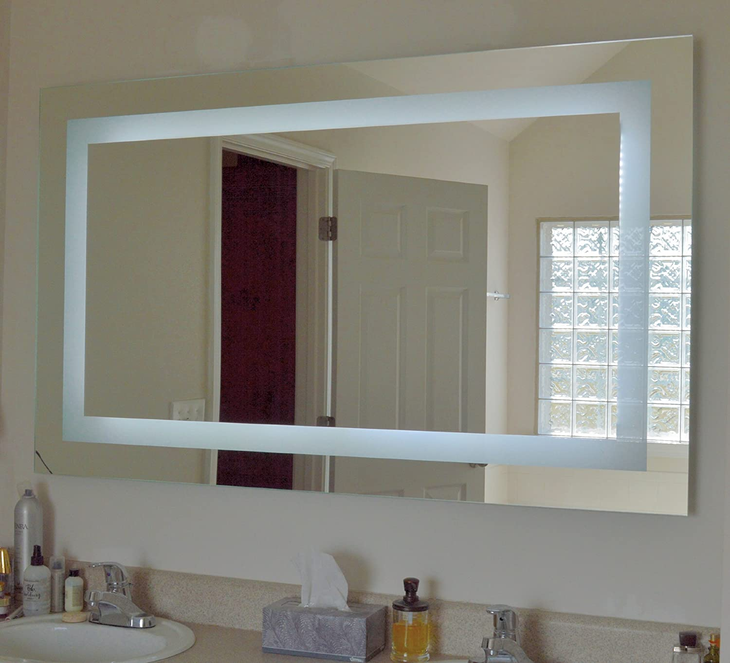 Backlit mirrors for bathrooms u s a together with boffis thirteen to - Amazon Com Lighted Vanity Mirror Led Mam86036 Commercial Grade 60 Wide X 36 Tall Home Kitchen