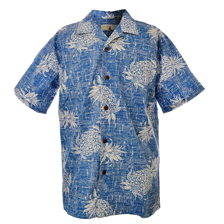 Men Aloha Shirt Cruise Luau Hawaiian Party Vintage Blue Pineapple Floral