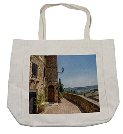 7f5050935a2a Amazon.com - Lunarable Italian Shopping Bag, The Walls of Pienza in ...