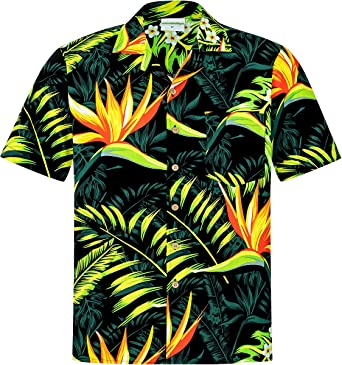 Camisa Hawaiana | Hombre | Manga Corta | 100% Algodón | S - 8XL | Ave del Paraiso | Flores | Flor | Negro | Hawaiiana | Hawaii: Amazon.es: Ropa y accesorios