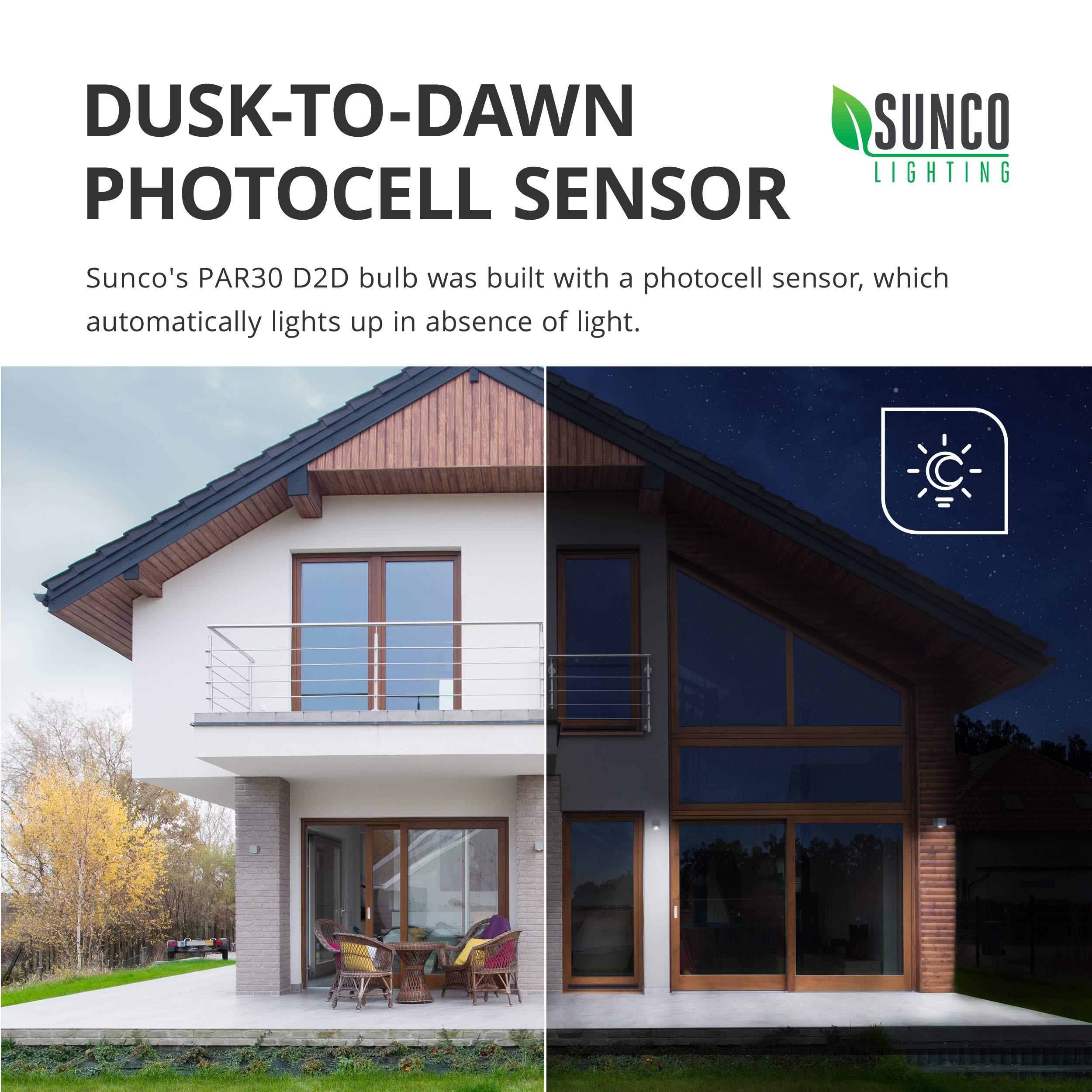 Sunco Lighting 4 Pack PAR30 LED Bulb, Dusk-to-Dawn Photocell Sensor, 11W=75W, 5000K Daylight, 850 LM, Auto On/Off Security Flood Light - UL by Sunco Lighting (Image #4)