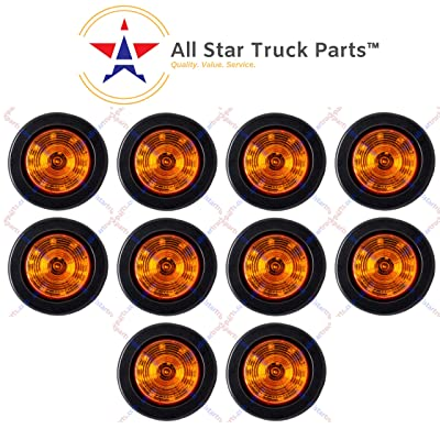"QTY 10-2.5"" Round Side Marker Clearance Light 12 LED Amber Grommet Pigtail Kit: Automotive"