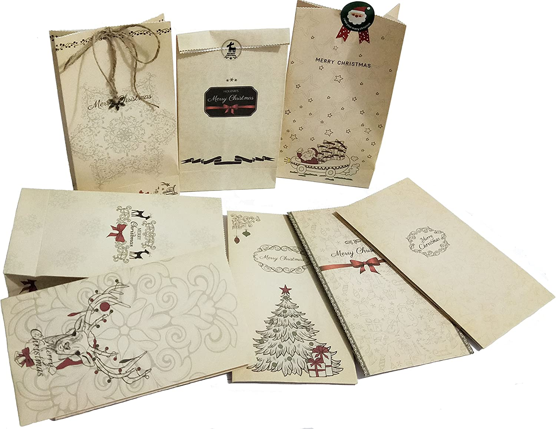 3 metri di corda di juta 44 simpatici adesivi natalizi 14 pendenti di natale borsa regalo per fatti a m 24 sacchetti di carta natalizia 6 pendenti in metallo vintage Robusta busta di carta