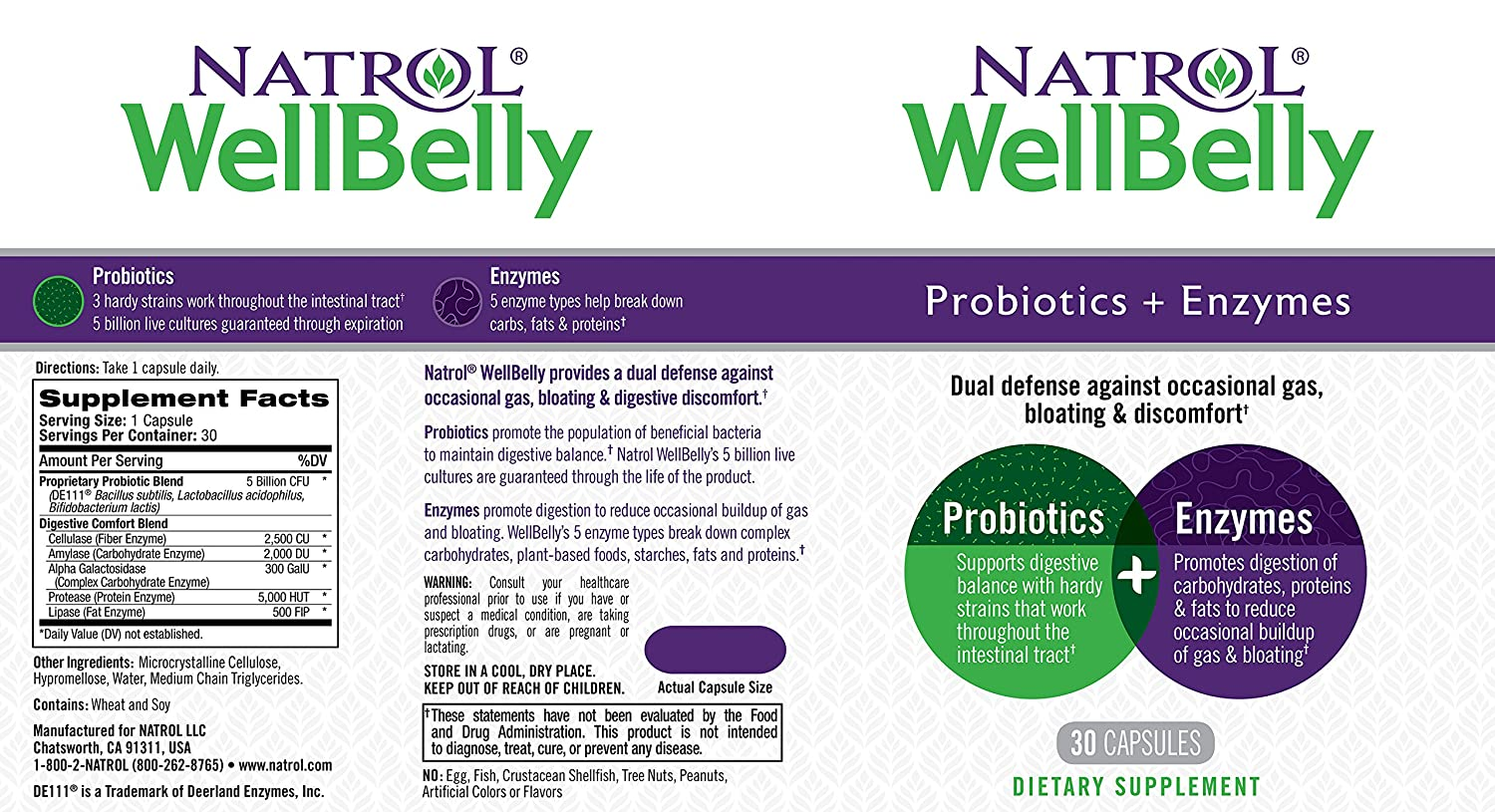 Natrol - WellBelly Probiotics + Enzymes Formula - 30 ...