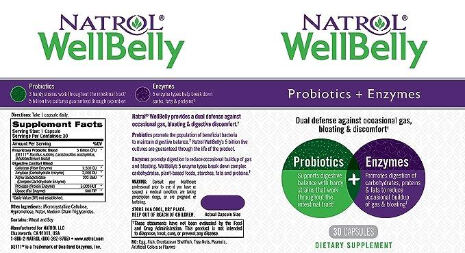 Natrol - WellBelly Probiotics + Enzymes Formula - 30 cápsulas ...