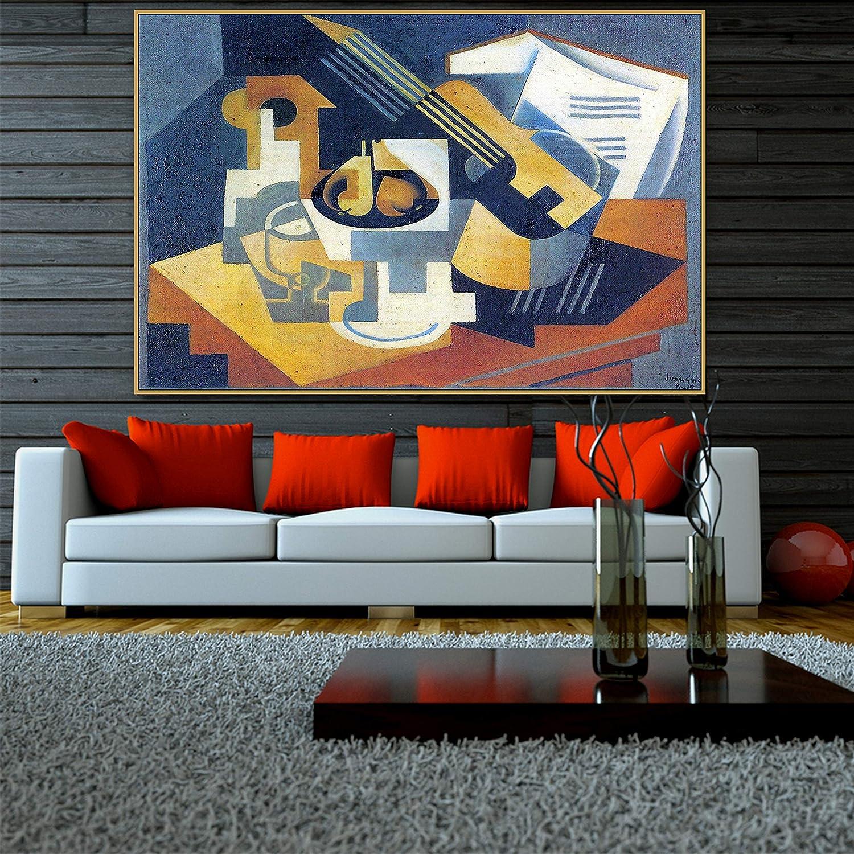 SIRIUSART Juan Gris Old Famous Master Artista español Guitarra y Fruta Pintura en Lienzo Póster Impresión para la decoración de la Pared de la Sala Arte de la Pared (60x90cm) 24