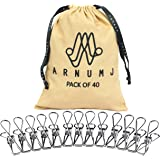 Arnumj Stainless Steel Clothes Pegs - Pack of 40 with Bag – These Multipurpose Heavy Duty Clips are Used for Laundry…