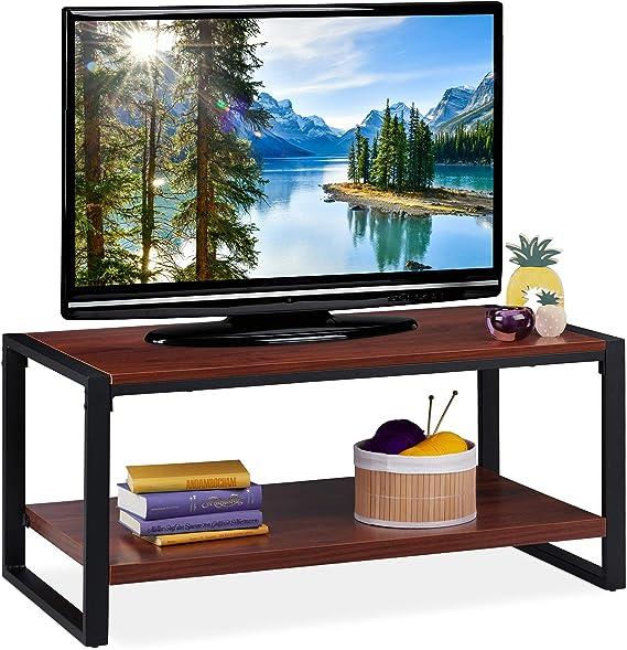 Relaxdays Mueble TV, Mesa Centro, Mesita Televisión, Tablero de Partículas y Metal, 45 x 100 x 55 cm, Marrón Rojizo, 45x100x55 cm: Amazon.es: Juguetes y juegos
