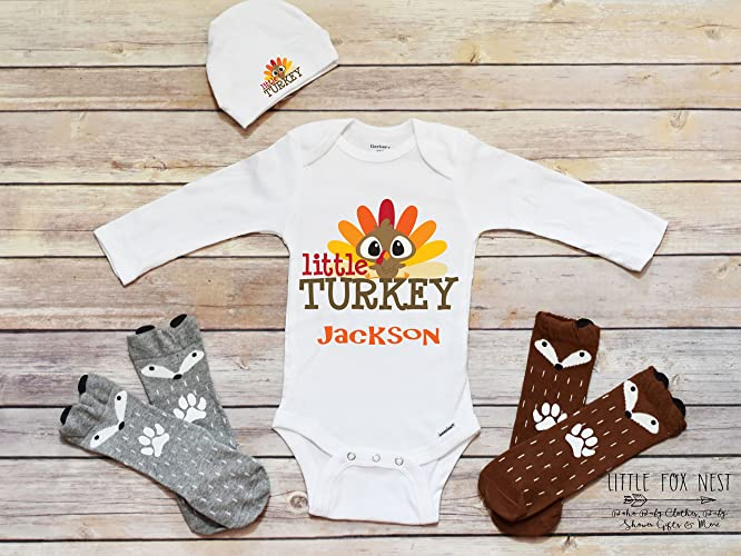 ad20f72da Amazon.com: First Thanksgiving Outfit, Thanksgiving Onesie®, Little Turkey,  Baby Boy Thanksgiving Onesie, Boho Baby Clothes, Baby Onesie®: Handmade