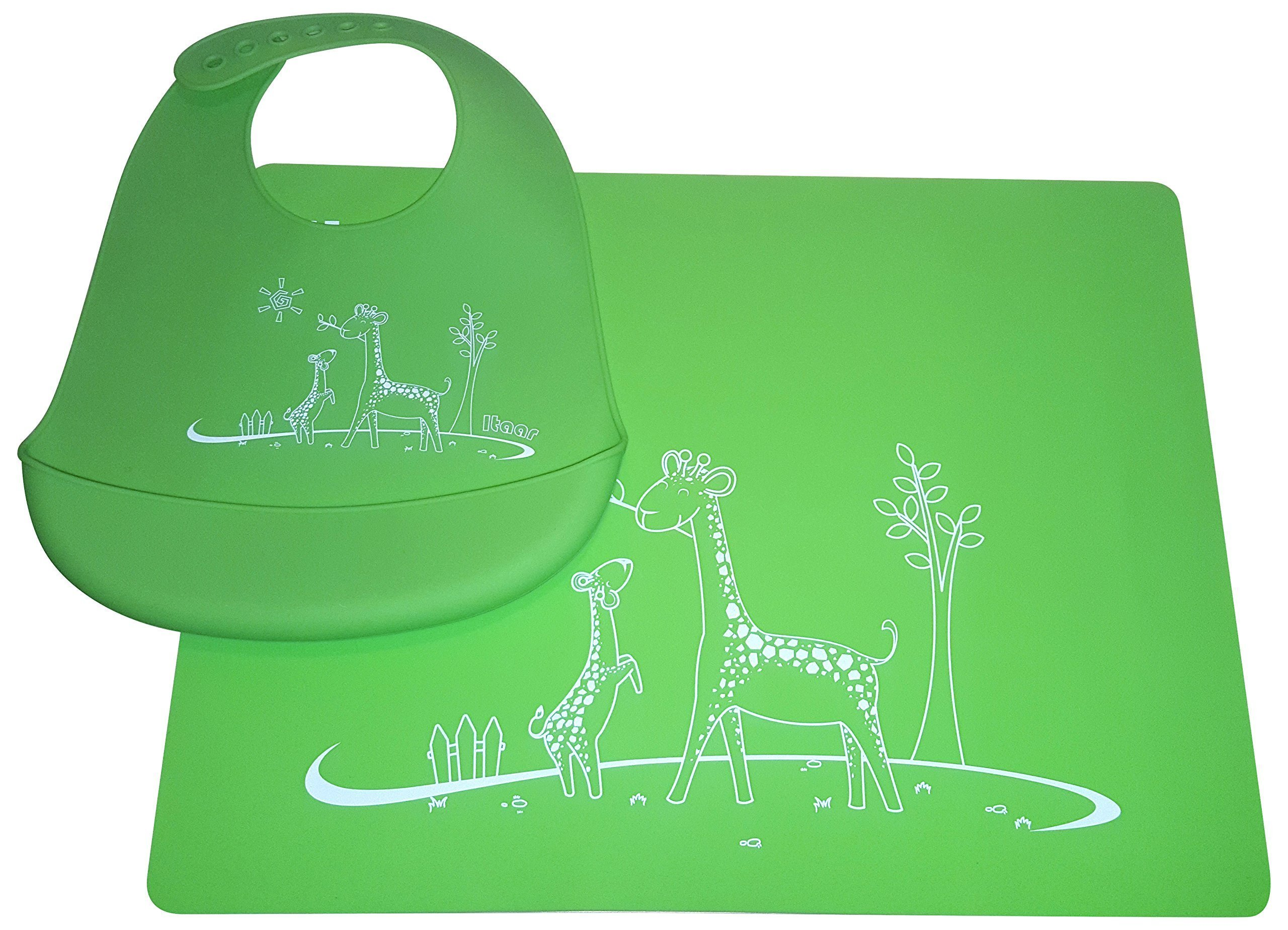 Cute Baby Silicone Bib and Placemat Set by Maximoo|Waterproof Feeding Pocket Bib for Toddlers|Green