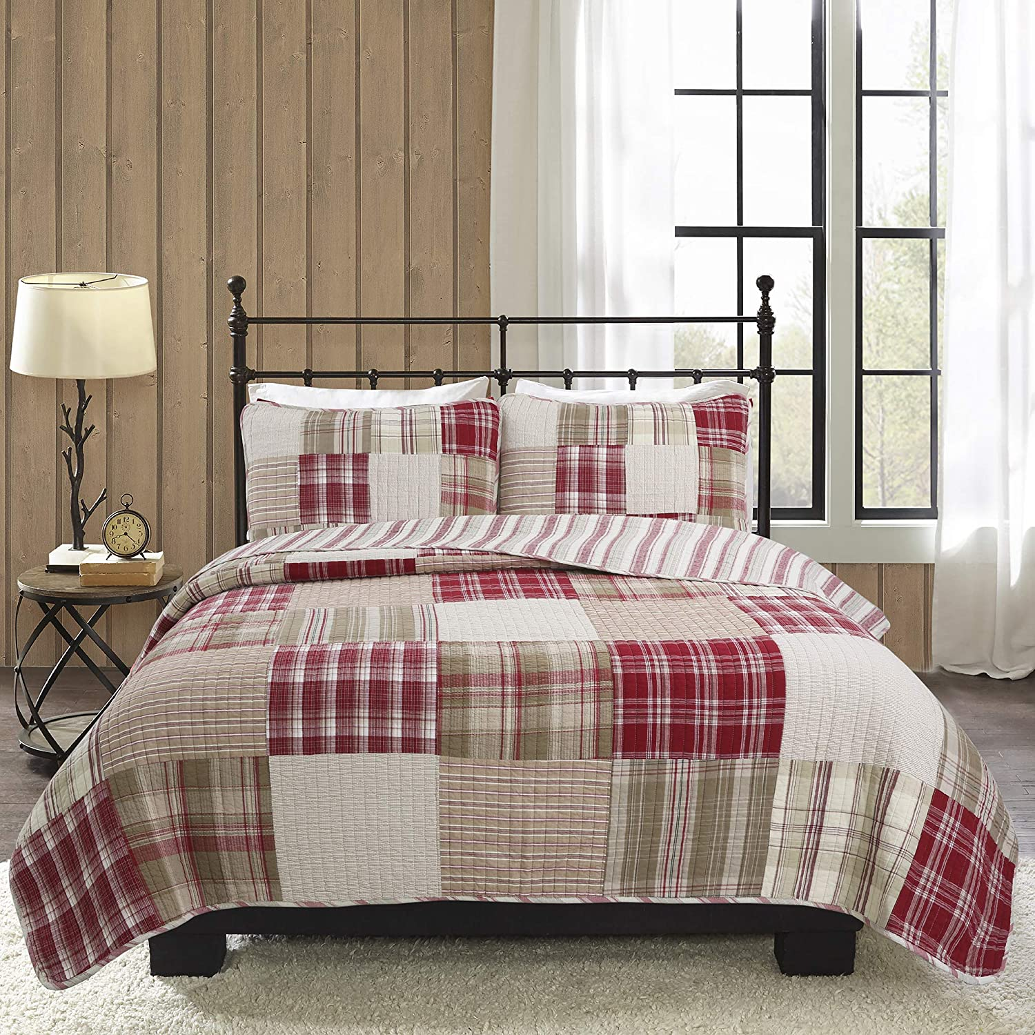 Cozy Line Home Fashions Alivia Red Brown Real Patchwork 100% Cotton Reversible Bedding Quilt Set (Alivia Patchwork, Queen -3 Piece)