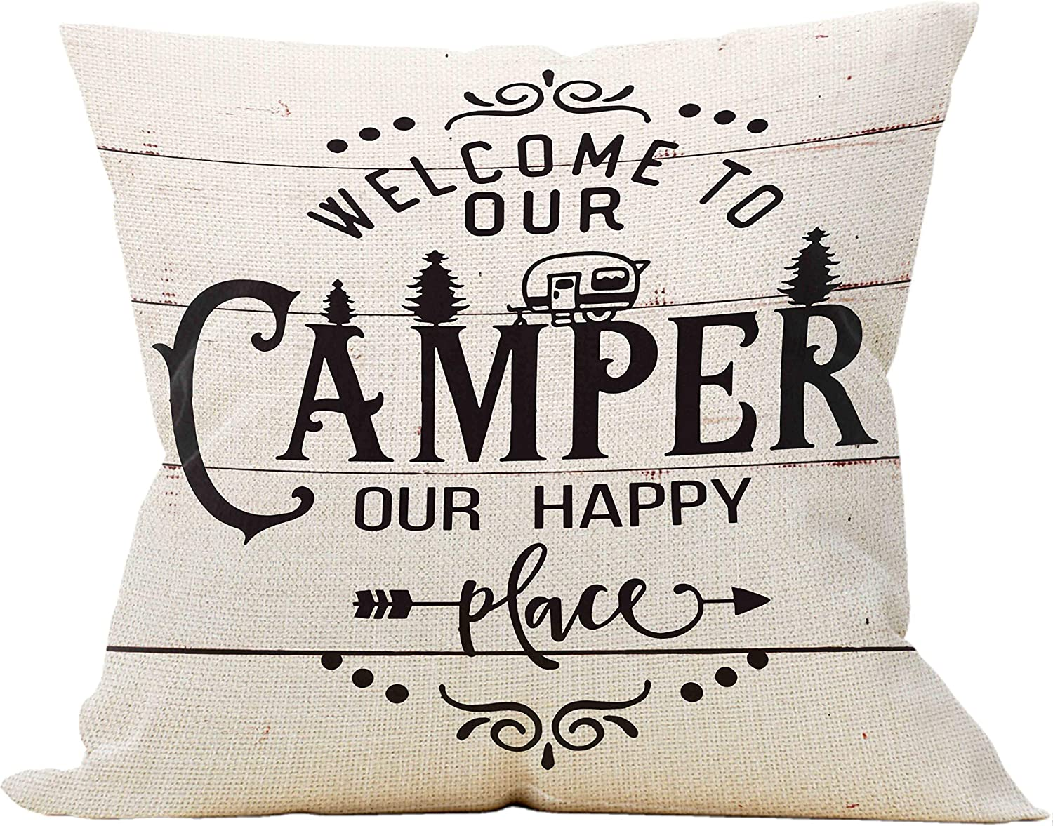 Mancheng-zi Welcome to Our Camper Our Happy Place Throw Pillow Case, Campers Gifts, Camper Decor, 18 x 18 Inch Trailer RV Pillow Decorative Linen Cushion Cover for Sofa Couch Bed