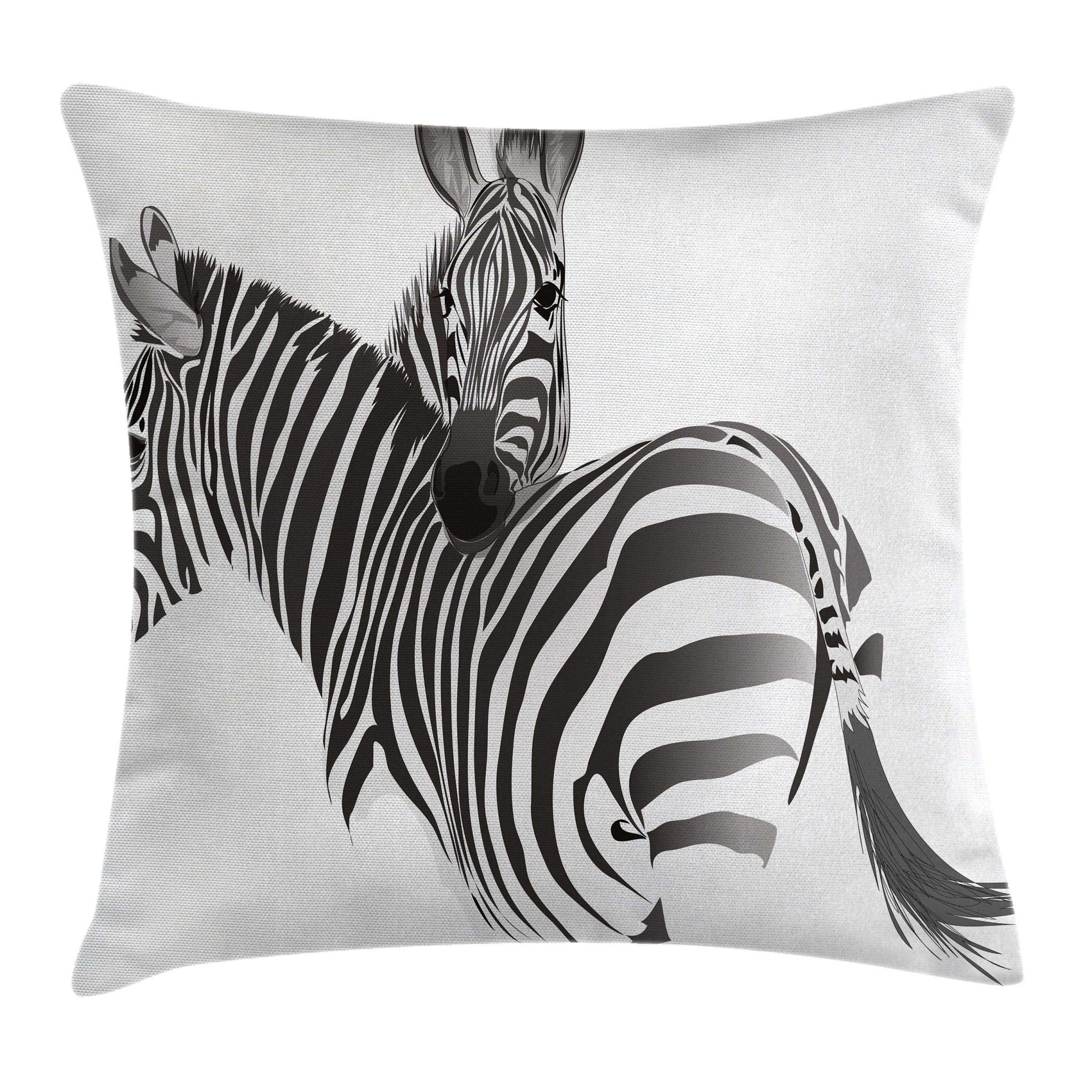 Ambesonne Zebra Throw Pillow Cushion Cover by, African Animals Cute Couple Safari Theme Savannah Jungle Camouflage Zoo Exotic Horse, Decorative Square Accent Pillow Case, 16 X 16 Inches, Black White