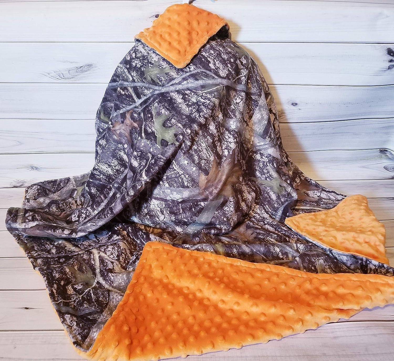 Personalized Monogram Blanket Orange Minky Swirl Camoflauge Baby Boy Blanket